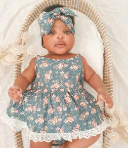 Forest Rose Lace Romper Headwrap