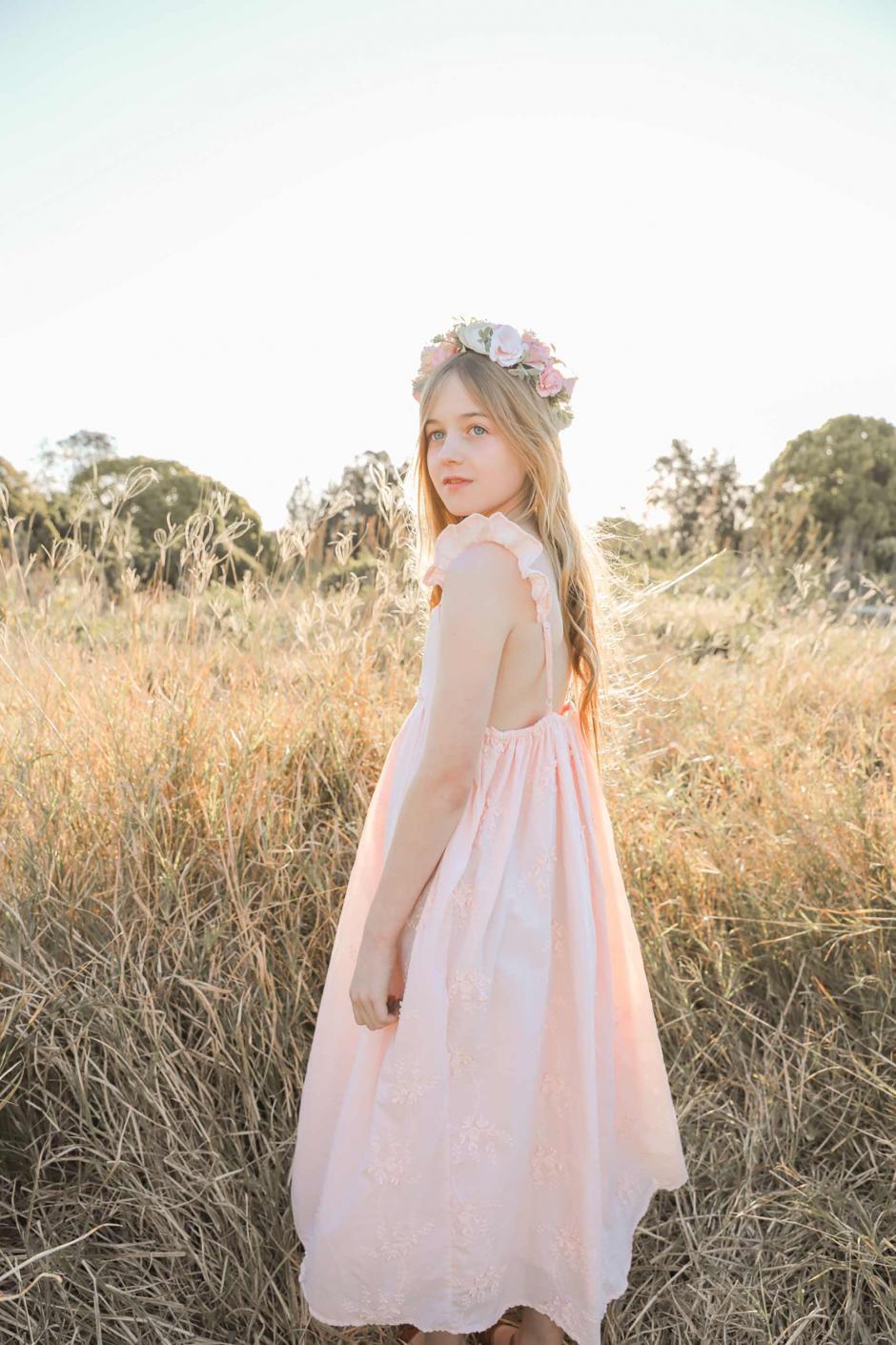 Girls Petal Dress Peach