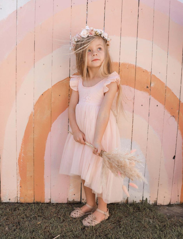 Peach Tigerlily Tulle High Low Dress Margot Flower Crown