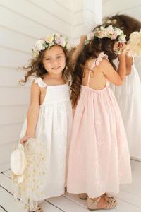 Petal White Peach Dress