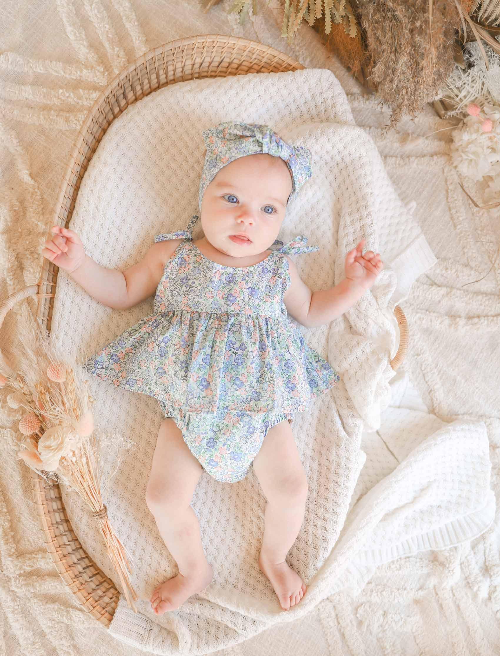 Baby Fleur Floral Headwrap Romper